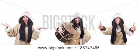 Eskimo woman isolated on the white