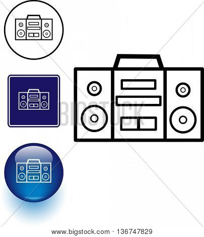 stereo boom box symbol sign and button