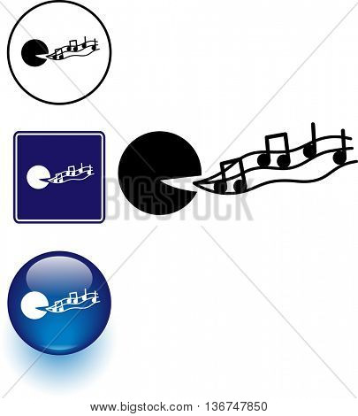 singing symbol sign and button