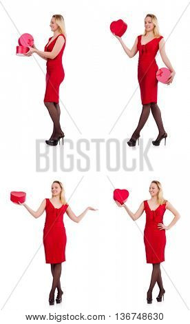 Red dress woman holding gift box isolated on white