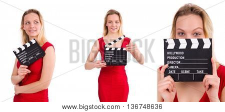 Red dress girl holding clapboard isolated on white