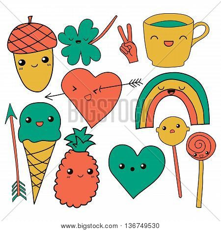 cute hand drawn doodle collection vector illustration coffee, arrow, ice cream, heart, rainbow, clover, love, acorn, lollipop candy pineapple isolated on white background for embroidery patches