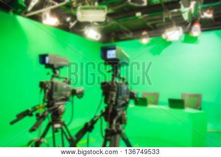 blur image TV camera in studio a green