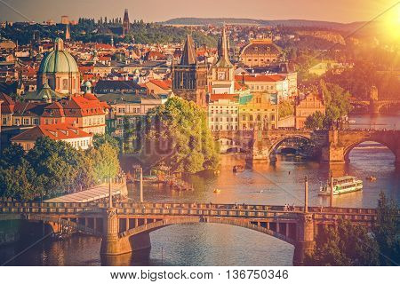 City of Prague in Summer. Prague Old Town Charles Bridge and Vltava River. Czechia Czech Republic Europe.
