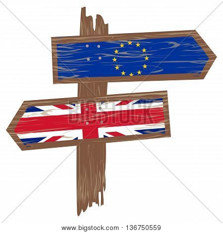 Brexit concept. Arrow of England flag versus an arrow of European flag. Vector illustration