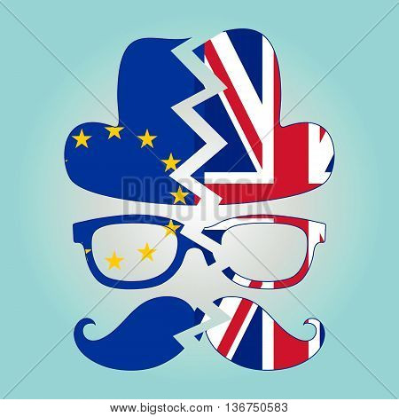 Brexit concept. British invisible man with two torn flags - EU and UK. Vector.