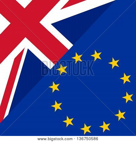 Brexit concept. England flag versus an European flag. Image relative to politic relationships between Europe Union and United Kingdom. Vector illustration
