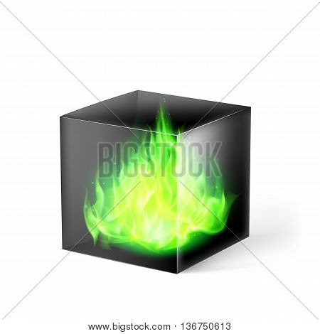 Black cube with green fire flames inside on white