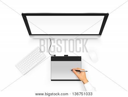 Designer drawing on graphic tablet near pc monitor blank screen. Artist design project with digitizer, stylus, computer, mouse and keyboard. Empty display monoblock from above. Creative workplace top
