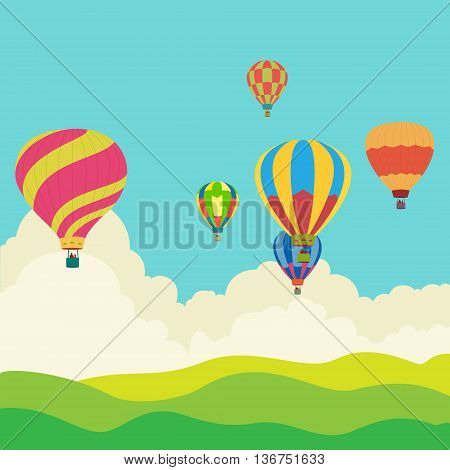 Hot air balloon in the sky vector, illustration, background, greeting card