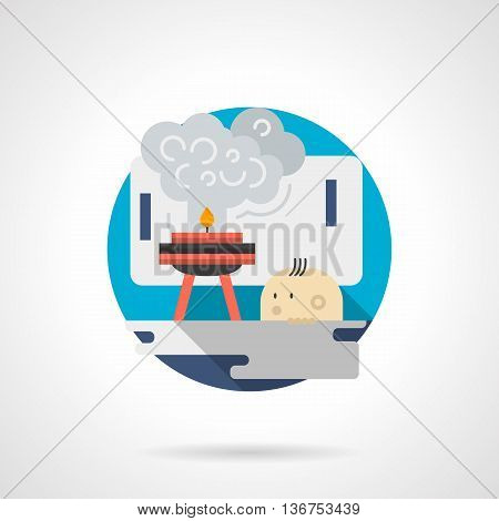 Kid or pupil looking to burner at a chemistry lab. Safety advice in science laboratory. Education and science research. Round detailed flat color style vector icon. Web design elements.