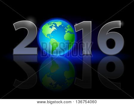 New Year 2016: metal numerals with Earth instead of zero having weak reflection