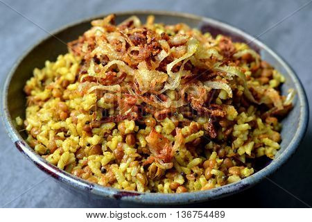 Mujaddara, Mejadra: Traditional rice, lentil and onion dish from Middle Eastern Cuisine.