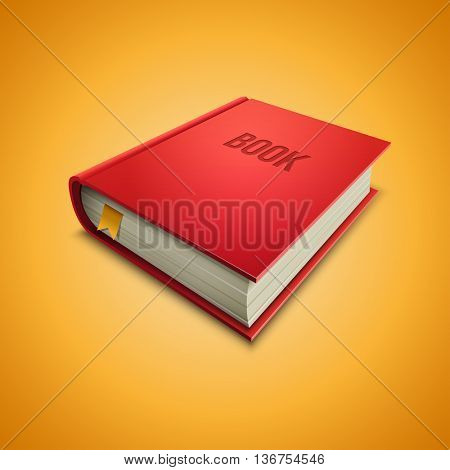 Vector illustration of red hardcover book on yellow background. Elements are layered separately in vector file.