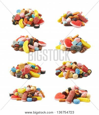 Pile of multiple different colorful candies isolated over the white background, set of eight different foreshortenings