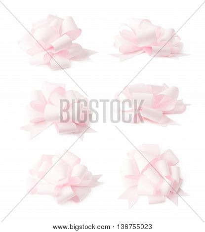 Decorational rose pink ribbon gift bow isolated over the white background, set collection of six diffirent foreshortenings