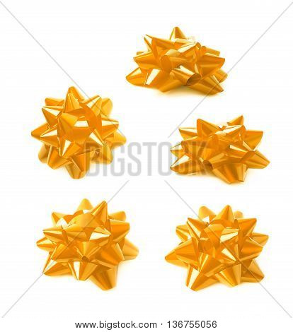 Decorational yellow ribbon gift bow isolated over the white background, set collection of five diffirent foreshortenings