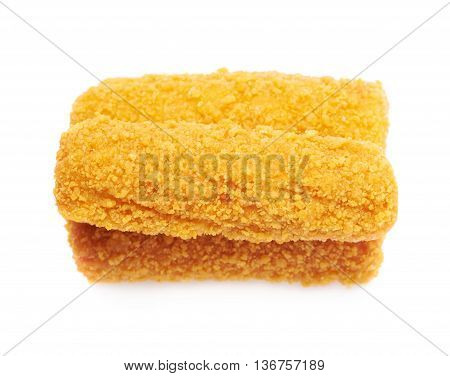 Pile of breaded crab stick snacks isolated over the white background