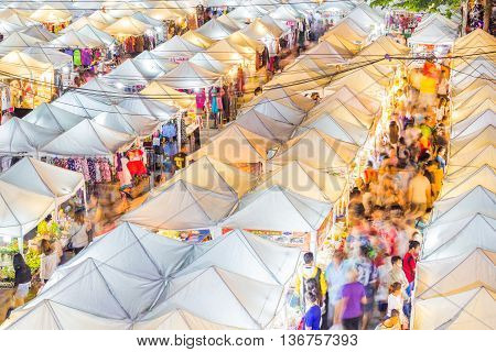 BANGKOK - MAY 22 2016: View from above of a night market in Ramkhamhaeng huamark district Bangkok.