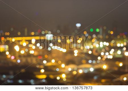 Blurred cityscape at twilight time Cityscape bokeh background