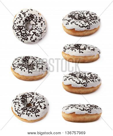 Donut pastry with a white chocolate glaze isolated over the white background, set of seven different foreshortenings