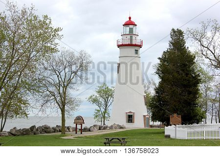 Marblehead Lighthouse in Ohio bordering Lake Erie