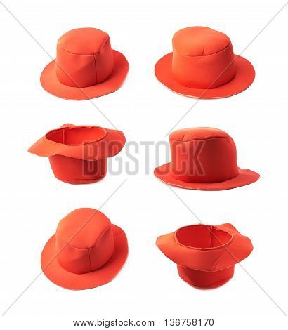 Red prop clown's hat isolated over the white background, set of six different foreshortenings