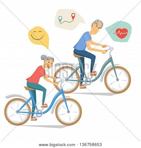 Seniors bicycling and smiling. Pensioners ride bike together. Old man and women leisure. Cartoon older healthy cyclist vector illustration. Elderly people character have a fun. Couple fitness.