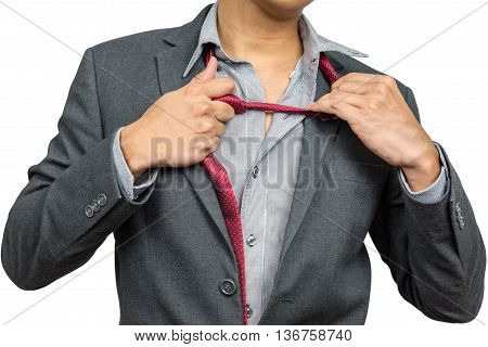 Exhausted and tried businessman taking his tie off isolated on white background with clipping path