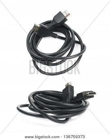 Folded HDMI cable isolated over the white background, set of two different foreshortenings