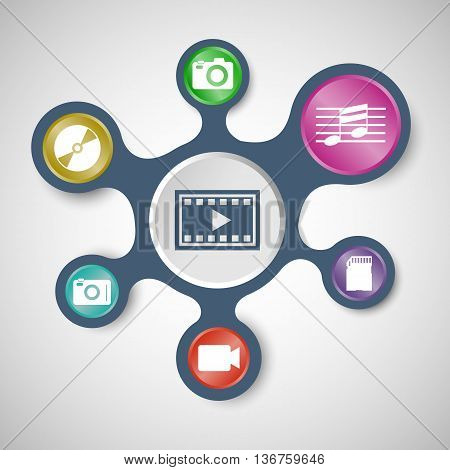 Media infographic templates with connected metaballs, stock vector