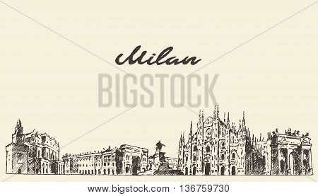 Milan skyline Italy vector engraved illustration hand drawn sketch