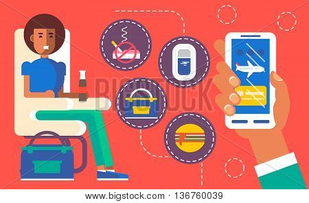 Cool vector concept design on choosing airplane cabin seat and flight conditions using mobile device or web application featuring cabin seat mobile device in hand with airplane on screen. Flat illustration.