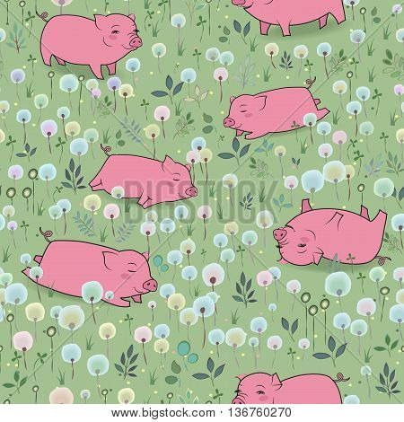 Happy Pigs on the blossoming field. Vector Seamless Pattern