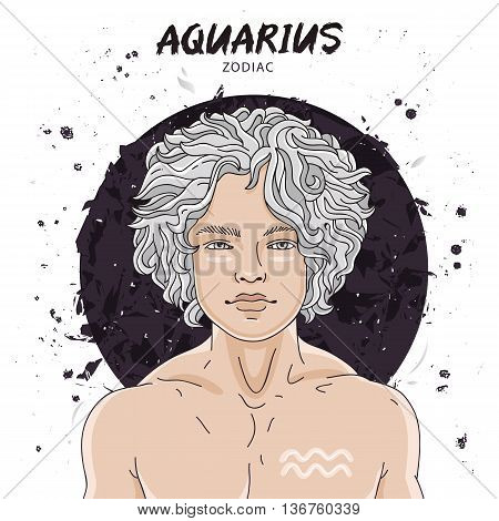 Portrait of a handsome young man. Astrological horoscope sign of Aquarius. The guy with the silver hair. Vector illustration on white background. Concept zodiac sign. Great gift card.