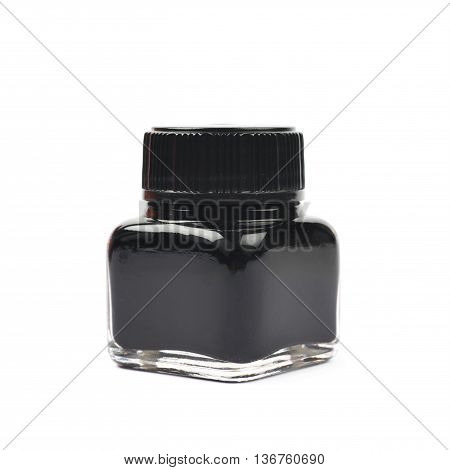 Tiny bottle filled with the black ink, composition isolated over the white background