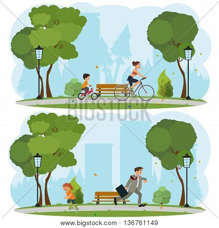 Woman and child riding on bicycles around the city park. a man late for work. Girl roller-skating in the park. vector