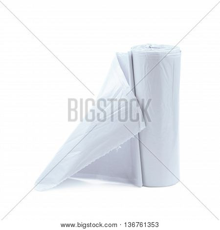 White plastic polyethylene trash bag roll isolated over the white background