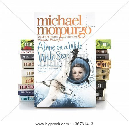 SWINDON UK - JULY 11 2016: Alone on a Wide Wide Sea by Michael Morpurgo on a white background