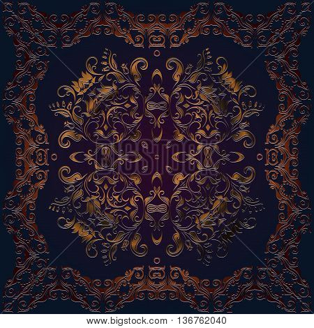square frame ornamental tracery vintage pattern on a dark background embossed leather dark red color Ethnic Art Renaissance