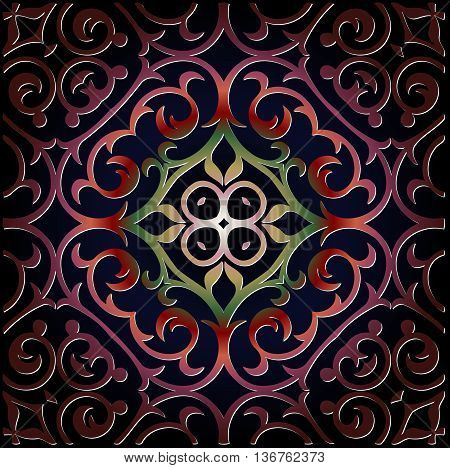 ornamental tracery vintage pattern on a dark background embossed leather red color Ethnic Art Renaissance