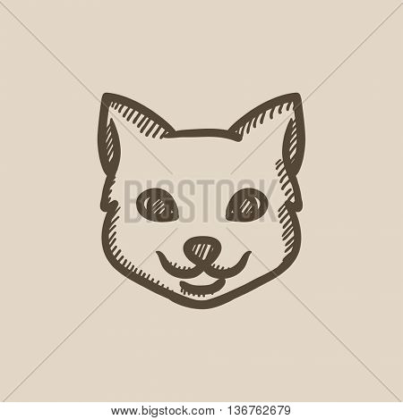 Cat head vector sketch icon isolated on background. Hand drawn Cat head icon. Cat head sketch icon for infographic, website or app.