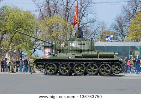 SAINT PETERSBURG, RUSSIA - MAY 05, 2015: T-34 tank at the rehearsal of parade in honor of Victory Day in St. Petersburg