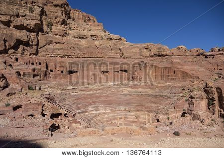 View Of Theatre In Petra In The Morning, Jordan
