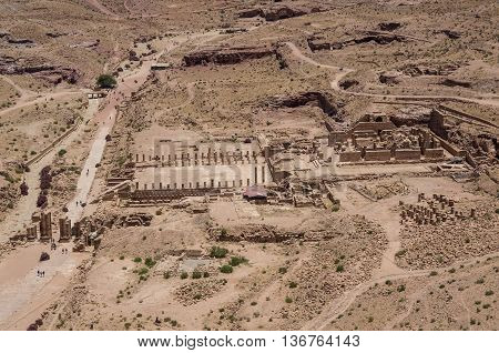 Bird's Eye View Of The Great Temple And Arched Gate In Ancient City Petra, Jordan