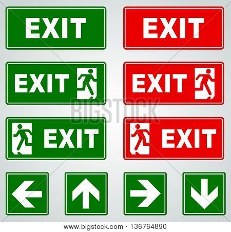 Illustration of red and green exit vector signs