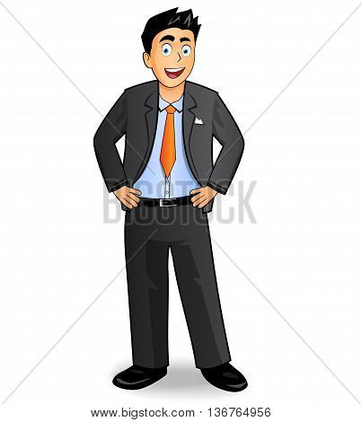 Illustration of businessman vector drawing on white background