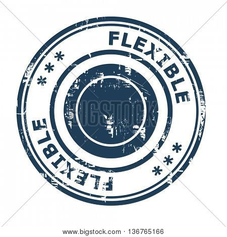 Flexible business concept rubber stamp isolated on a white background.