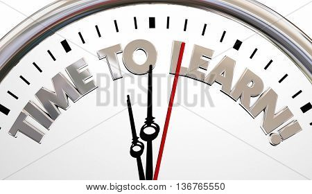 Time to Learn Clock Training Education School 3d Illustration
