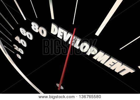 Development Programming Process System Progress Speedometer 3d Illustration